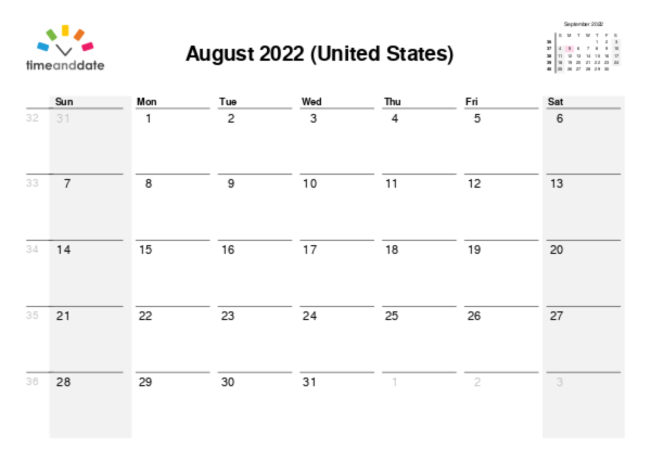 Calendar for 2021 in United States