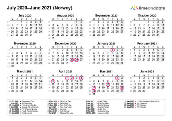 Calendar for 2020 in Norway