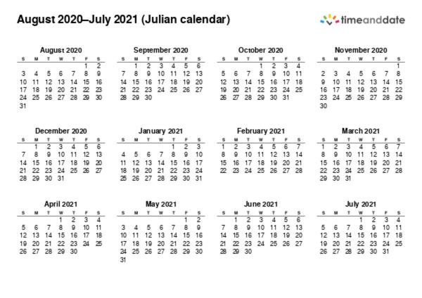 Printable Calendar 2020 for Julian calendar (PDF)