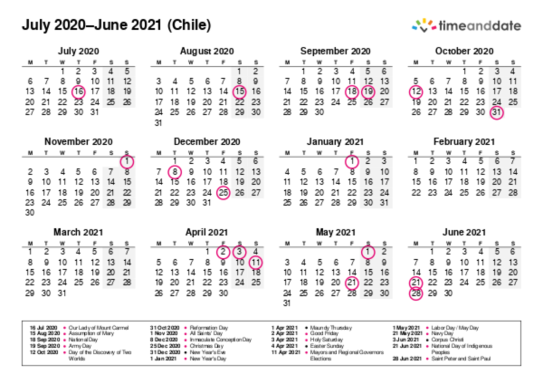 Calendar for 2020 in Chile