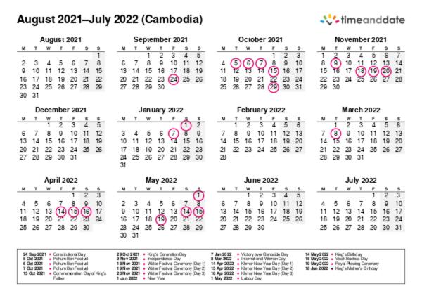 Printable Calendar 2021 for Cambodia (PDF)