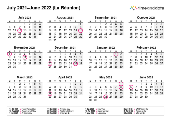 Calendar for 2021 in La Réunion