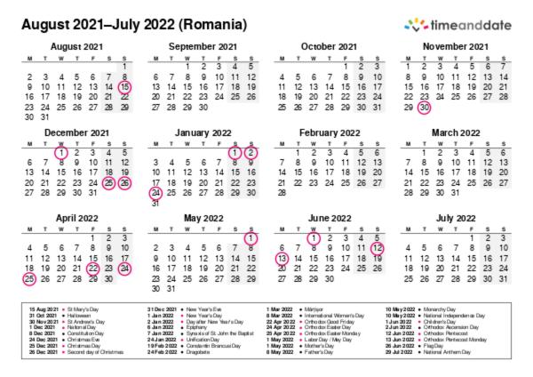 Printable Calendar 2021 for Romania (PDF)