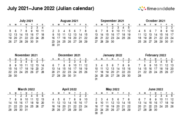 2022 Julian Calendar.Printable Calendar 2021 For Julian Calendar Pdf