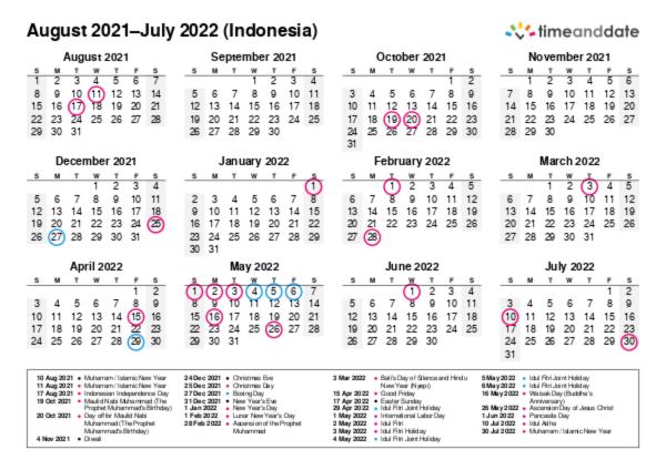 Printable Calendar 2021 for Indonesia (PDF)