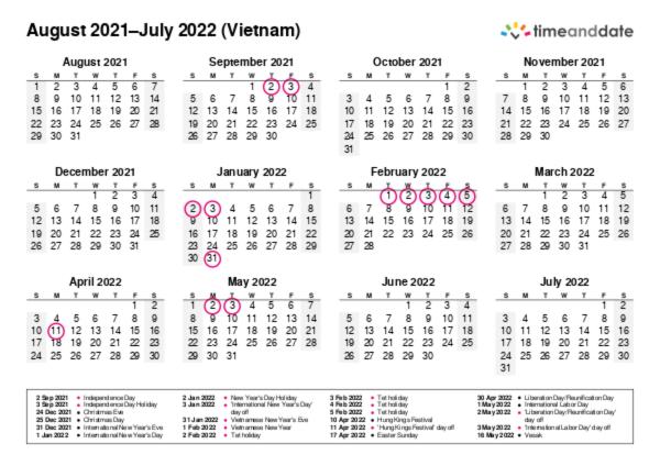 Printable Calendar 2021 for Vietnam (PDF)