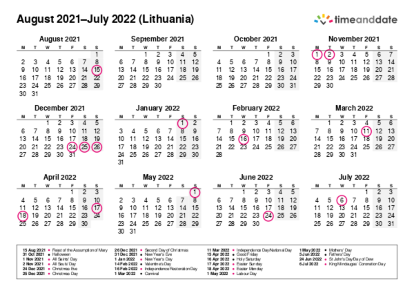Calendar for 2021 in Lithuania