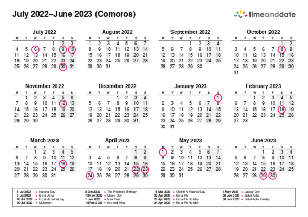 Calendar for 2022 in Comoros