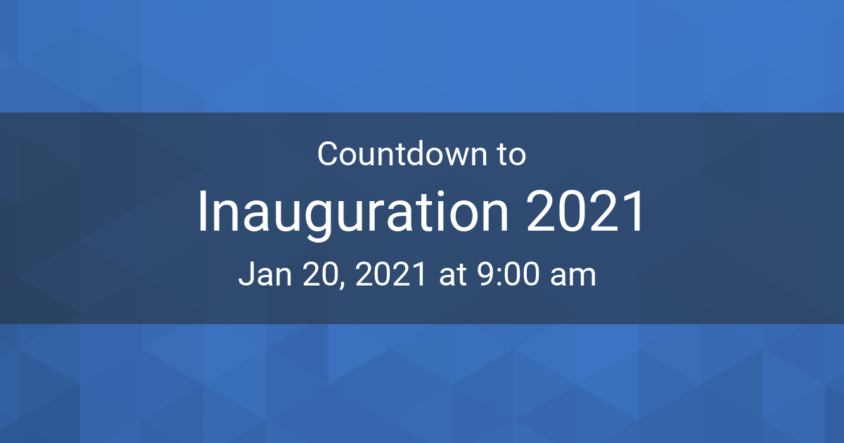 Countdown Timer Countdown To Jan 20 2021 9 00 Am In New York