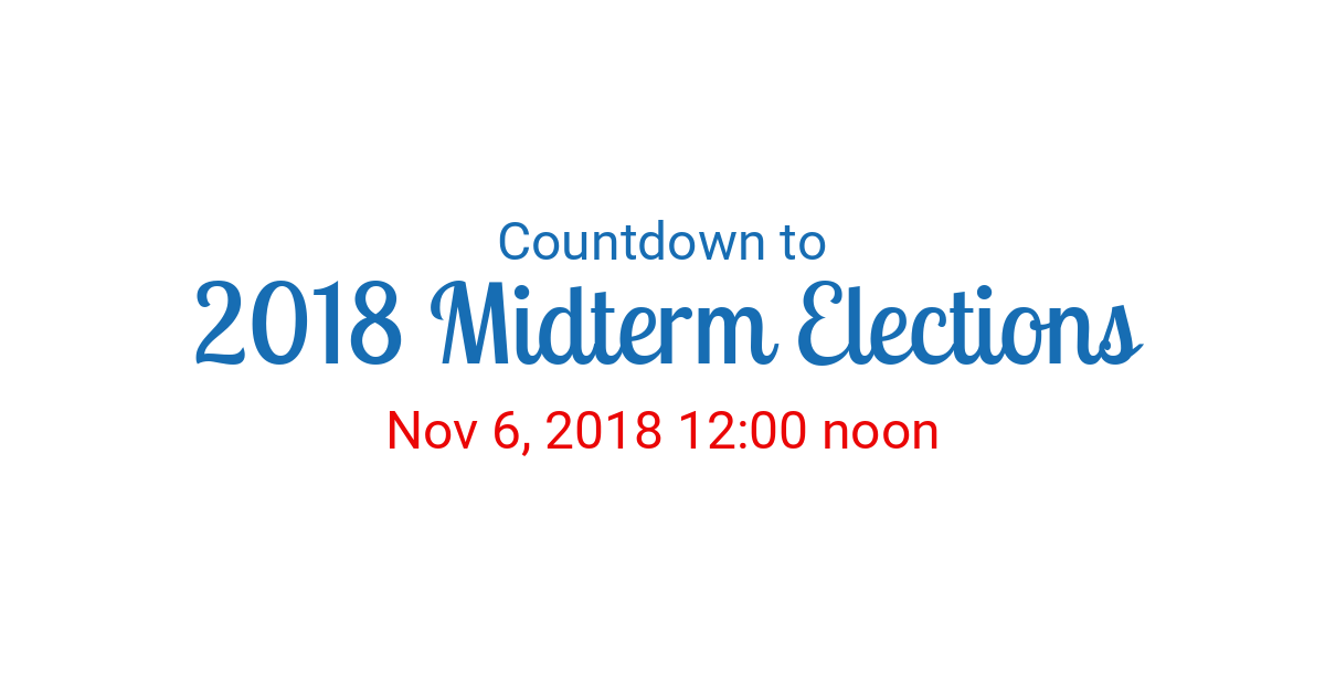 Countdown to Nov 6, 2018 12:00 noon in New York