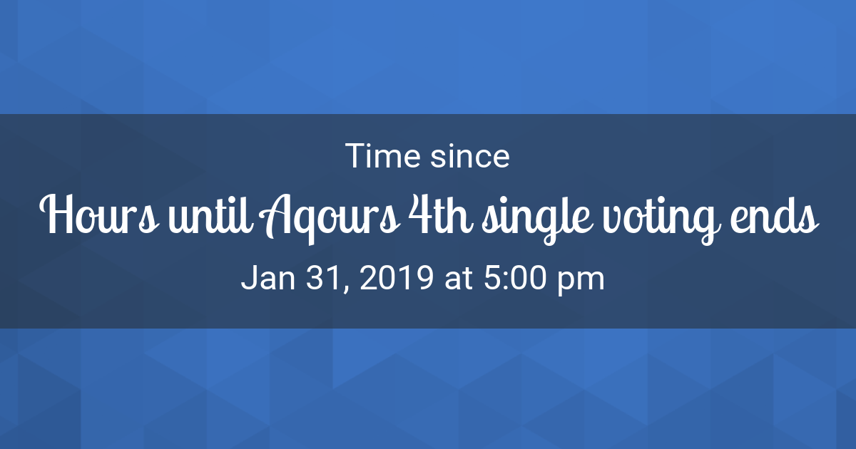 Countdown Timer - Time since Jan 31, 2019 5:00 pm started in