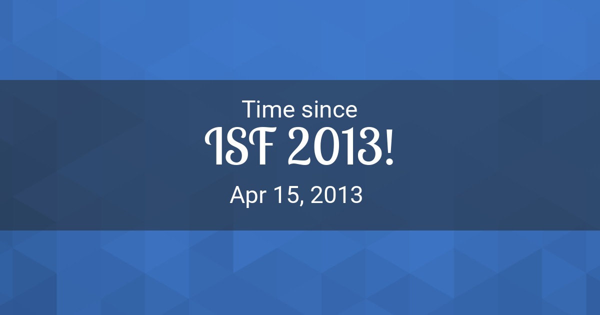 Countdown Timer - Time since Apr 15, 2013 started in New York