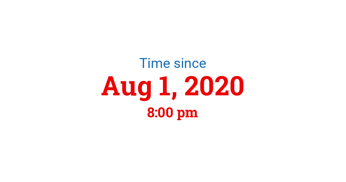 Time since Aug 1, 2020 8:00 pm started in New York