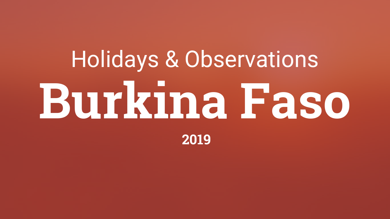 Holidays and observances in Burkina Faso in 2019