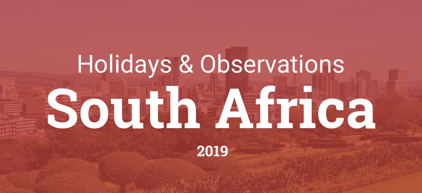 Holidays and observances in South Africa in 2019