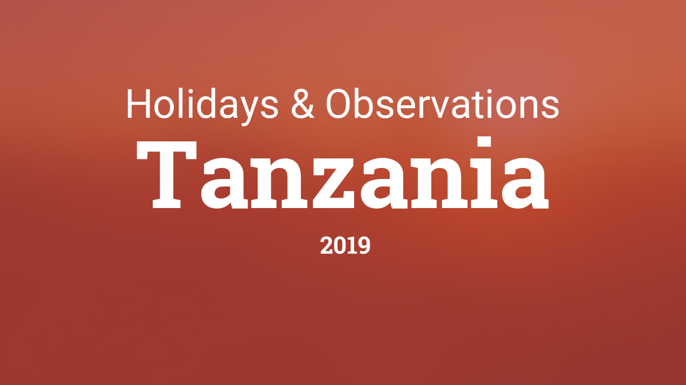 Holidays and observances in Tanzania in 2019