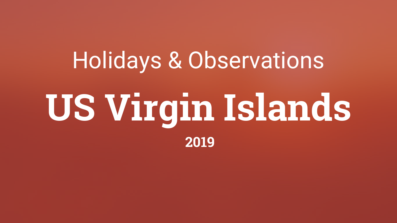 Holidays and observances in US Virgin Islands in 2019
