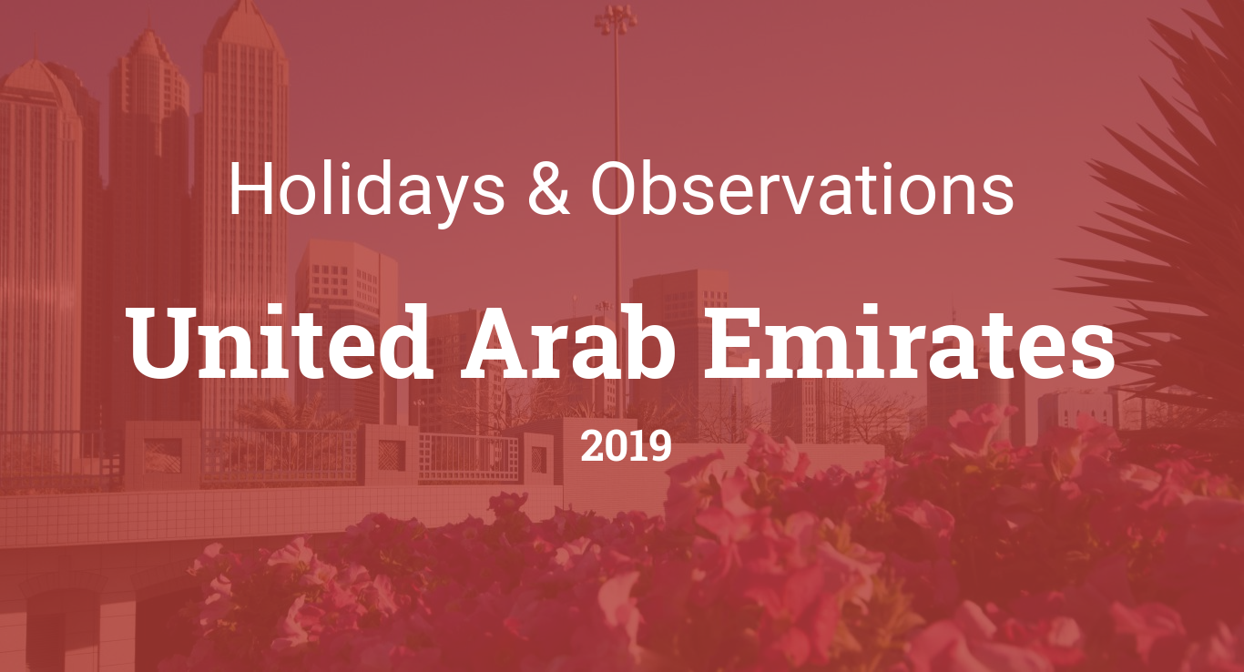 Holidays and observances in United Arab Emirates in 2019