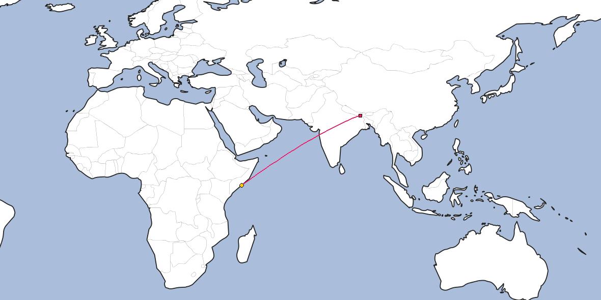 Distance Between Dharan And Mogadishu