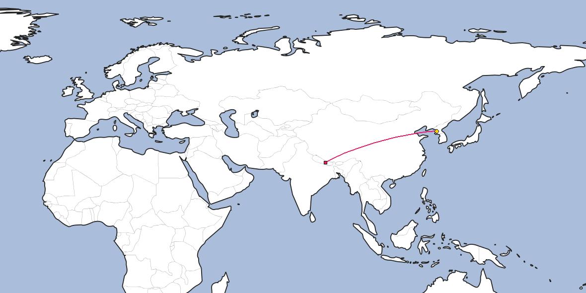 Distance Between Kathmandu And Pyongyang