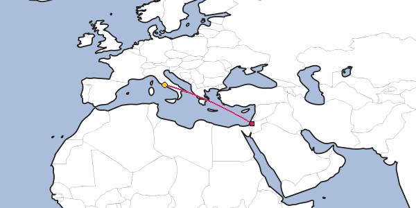 Bethlehem On World Map Distance between Bethlehem and Rome
