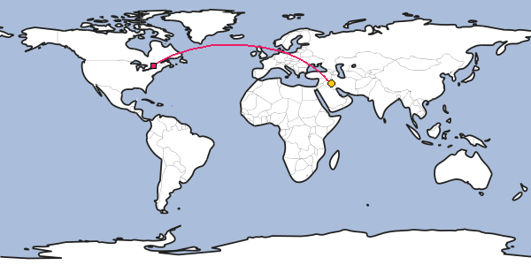 Distance between Ottawa and Baghdad