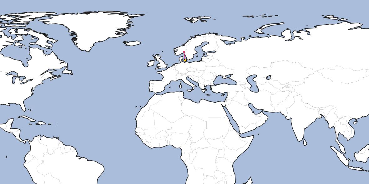Distance between Kløfta and Næstved