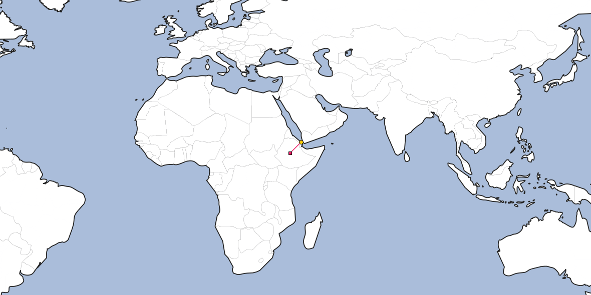 Distance between Addis Ababa and Assab